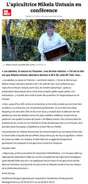 Article dans Sud-Ouest du 12/11/2015, au sujet d'une conférence tenue par l'apicultrice mikela untsain