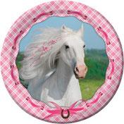 weisses Pferd, rosa Masche
