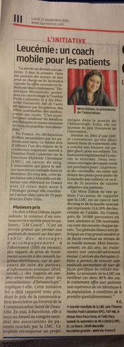 LMC France lmcoach presse journal provence leucemie myeloide chronique traitement novartis adherence observance caoch