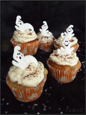 recette cupcakes à la poire, topping poire, déco fantôme, halloween, cake design, pâtisserie, boutique en ligne
