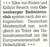 Cronenberger Anzeiger Bericht vom 07.10.2003