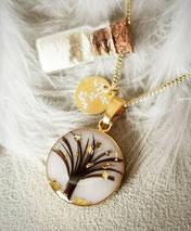 18 mm Medaillon vergoldet mit Lebensbaum aus 2 verschiedenen Haarsträhnen