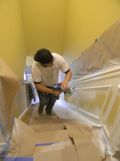 On site spraying of wainscoting