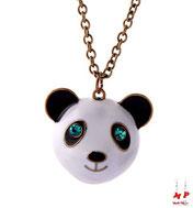 Collier à pendentif tête de panda aux yeux verts turquoise