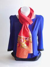 Foulard écharpe femme fleur japon rose