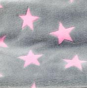 Kuschel- Fleece Sterne rosa am grau, Flor- Höhe 4mm