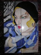 pannello in ceramica liberty art-nouveau