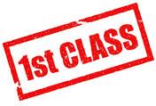 1st class, rot, Schrift, Qualität