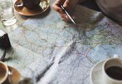 Karte, Stift, Tasse, planen