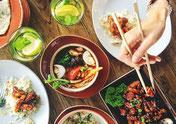 Essen, Stäbchen, Teller, asiatisch