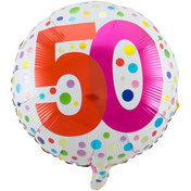 Folieballon 50 Jaar Happy Bday Stippen € 4,25