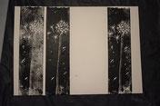 Erste Probedrucke der Pusteblume, nebeneinander gedruckt