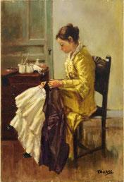 裁縫する女性 (模写)              (油彩・ )