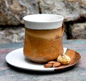 Keramik Tasse mit Unterteller Herbstwald