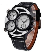 montre design homme grand cadran noir et blanche -bracelet cuir