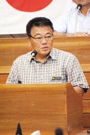 前津氏の一般質問に答弁する成底教育部長=17日午後、市議会