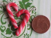 Ohrhänger Zuckerstangen, rot-weiß-gekringelt
