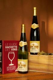 Twee flessen Elzas Pinot Blanc wijn met een wijngids