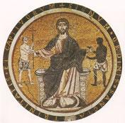 Le Christ entre deux captifs ; mosaïque du couvent de San Tommaso in Formis, Rome, v. 1212.