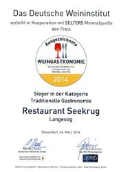 Ausgezeichnete Weingastronomie vom deutschen Weininstitut