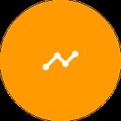 Icono de estadística en blanco sobre circulo naranja