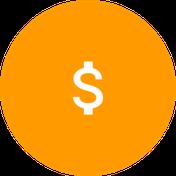 Icono de dolar en blanco sobre circulo naranja