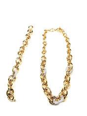 Parure da donna  in oro giallo e bianco con zirconi bianchi  18 kt  prezzi scontati - Istanti di Gioia