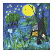 Nachtbild-Mond-Tiere-Kinderposter