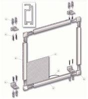 Despiece y accesorios de la mosquitera fija de aluminio