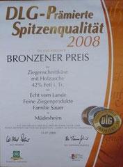 DLG Bronzener Preis für Ziegenschnittkäse mit Holzasche