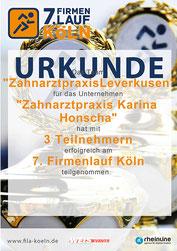 Urkunde für das Team der Zahnarztpraxis Honscha beim  7. Firmenlauf in Köln