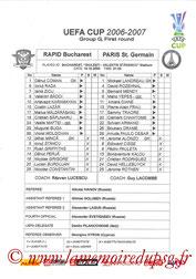 Feuille de match  Rapid Bucarest-PSG  2006-07