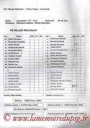 Feuille de match  Mlada Boleslav-PSG  2006-07