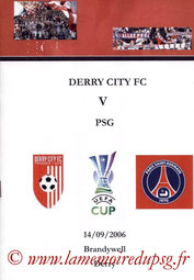 Programme pirate  Derry City-PSG  2006-07