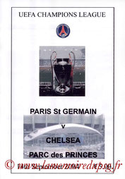 Programme pirate  PSG-Chelsea  2004-05