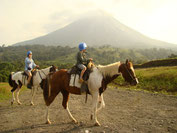 One hour riding the horses near to Arenal Volcano