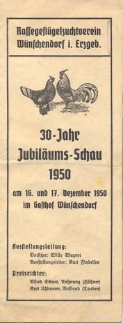 Bild: Wünschendorf Geflügelverein Progrmm 1950