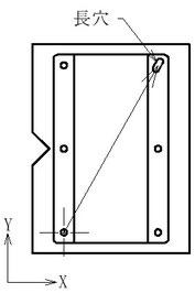 パレット側は丸ピン2本、ワーク側に丸穴と長穴加工を施します。