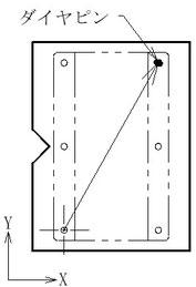 パレット側に丸ピンとダイヤピン、ワーク側には丸穴を2か所設けます。
