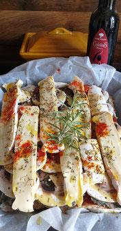 Bild: Rezept für Caillette geschichtet, mit Champignons und Reblochon