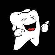 Fröhlicher Zahn gibt einen Hinweis