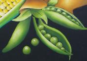チョークアートで描いたグリーンピースの写真