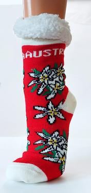 Kuschelige Socken mit Fleece, Edelweißmotiv + Austria