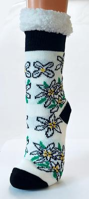 Kuschelige Socken mit Fleece, Edelweißmotiv