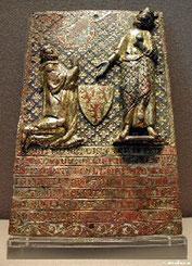 Plaque émaillée trouvée à la commanderie de Civray 1307 Musée du Louvre
