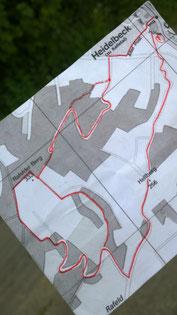 Karte mit der heutigen Route um den Rafelder Berg © Lippe Tourismus & Marketing GmbH