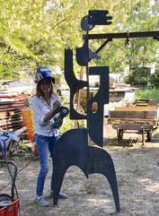 Antonine de saint pierre, style hiquily, sculpture, mobile en métal, sculpture en acier, sculpture metal , sculpture mobile, Philippe Hiquily, sculpture jardin