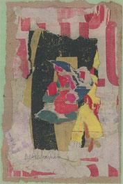 """Arthur Aeschbacher, """"bouton de gazon á cornac"""" - Collage/Karton, 28 x 21 cm, 1962"""