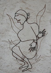 dessin sur la bordure d'un document montrant une personne au bûcher