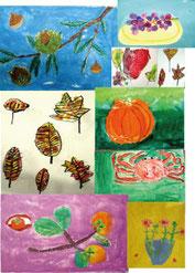 秋のこども絵画